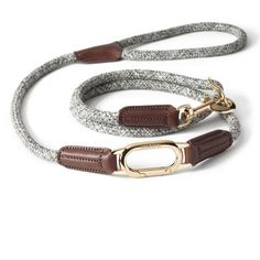 CLIC leash with Grey melange rope and Gold coloured hardware | Pre-order offer: 20% OFF & FREE Shipping