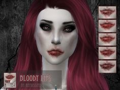 Bloody lip overlay for the Sims 4!  Found in TSR Category 'Sims 4 Female Skin Details'