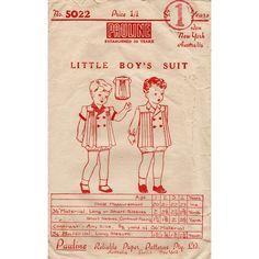 1940s Toddler Boy's Suit Pattern Rare Australian by BessieAndMaive