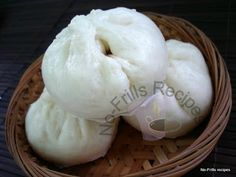 No-Frills Recipes . cooking, baking & excerpts on travel: Steamed Bun ~ Pau Steamed Meat, Steamed Pork Buns, Steamed Chicken, Pau Recipe, Malaysian Dessert, Asian Cake, Steam Recipes, Sweet Buns, Asian Recipes