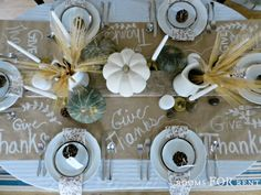 Thanksgiving table decorations - it's beautiful!  Love the idea of paper and chalk  to write what we are thankful for!