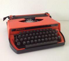 Vintage Portable Orange Typewriter   / 1980s      Made in Italy on Etsy, $74.33