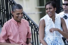 Michelle Obama, as we've already noted, has Fourth of July theme-dressing down pat. FLOTUS knows her way around a red and blue print, and she isn't shy about committing to a theme.