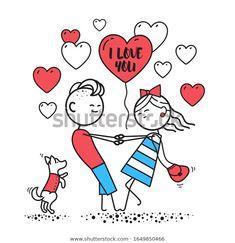 Стоковая иллюстрация «Girl Guy Swirl Holding Hands Happy», 1649850466