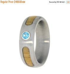 Wedding Sale Topaz Engagement Ring Bamboo Inlays Brushed Titanium Band