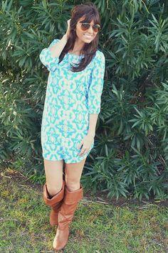 Take Me Down A Back Road Dress: Blue/White