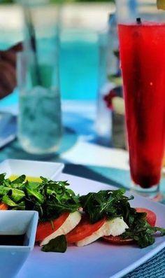 Caprese Salad at Sea Grapes, The Shore Club Turks & Caicos The Turk, Turks And Caicos, Caprese Salad, Sushi, Vacations, Restaurant, Club, Sea, Dishes