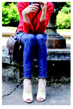 Sarah from Portland fashion blog www.stumptownstil.com wears the Engineered Crew and Silk Shirt by Margaret O'Leary