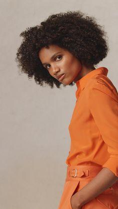 The Hailey Silk Shirt, Kory Wool Gabardine Pant, and Mini RL50 Handbag are realized in the season's vibrant mandarin orange hue. #RalphLauren Ralph Lauren Collection, Flare Pants, Hue, Preppy, Fashion Shoes, Vibrant, Glamour, Silk, Wool