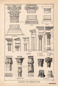 Edwardian Chart of Egyptian Gothic Corinthian Columns