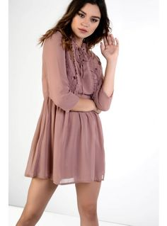 Dusty pink embroidered lace up dress