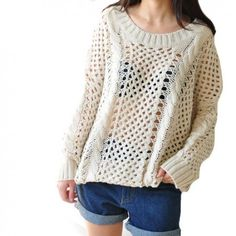 Sweet Loose Fitting Pure Color Open Knit Sweater