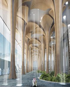 Mosque Architecture, Space Architecture, Religious Architecture, Futuristic Architecture, Amazing Architecture, Contemporary Architecture, Wall Cladding Designs, Airport Design, Lobby Interior