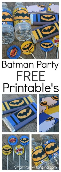These free Batman printable's are perfect for a Batman or superhero party. The set includes tent labels, cupcake toppers, water or soda bottle labels and Hershey bar wrappers which can be used as party favors. Just by using the set, you are well on your way to creating an amazing party. With the printable set being FREE, you can use those valuable dollars on food and other decorations. It's the best way to create a fabulous party on a budget. #Batman #PartyPrintables #Free #Superhero