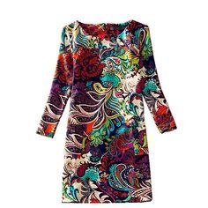 Купить товарЖенщины зимние платья 2016 новый свободного покроя с длинным рукавом цветочный принт женщин платье осень Femininos Vestido в категории Платьяна AliExpress.      Женщин зимние платья 2016 с длинным рукавом старинные цветочный принт женщин платье осень женский случайные офиса п