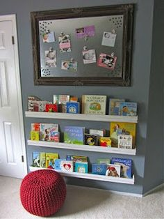 Use an old road sign as a magnetic board with pallet as frame and molding as bookshelves