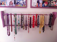 Paint an old quilt hanging rack & create a new home for your necklaces!