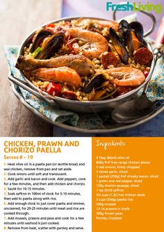 September 2012 issue features a sumptuous summer Paella.    #Chicken #prawn #chorizo #paella #lunch #dinner #seafood #recipe