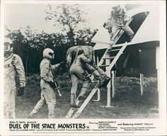 DUEL OF SPACE MONSTERS FRANKENSTEIN MEETS LOBBY CARD @ niftywarehouse.com #NiftyWarehouse #Frankenstein #Halloween #Horror #HorrorMovies #ClassicHorror #Movies