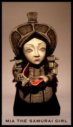 Mia the Samurai Girl by Irish Ceramist Darren Francis Cassidy
