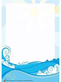 A imprimer, un joli papier à lettre recouvert de flots bleus