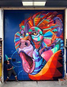 Farid Rueda in Armenia, Colombia 2017 Murals Street Art, Graffiti Murals, Street Art Graffiti, Mural Wall Art, Mural Painting, Amazing Street Art, Amazing Art, Arte Tribal, Graffiti Designs