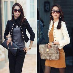 Women OL Casual Short Blazer Suit Slim Long Sleeve Jacket Coat Outerwear Fashion