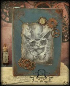 Steampunk Clock, Steampunk Diy, Decoupage, Mixed Media Collage, Pictures Images, Altered Books, Book Design, Stars, Artist