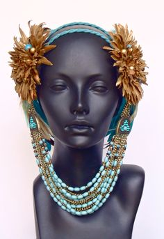 Brown, Gold & Blue Feather Headpiece Headdress
