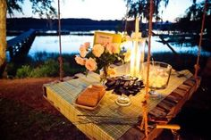 wedding s'mores station on hanging table Diy Pallet Furniture, Outdoor Furniture Sets, Outdoor Decor, Outdoor Pallet, Diy Swing, Hanging Table, Outdoor Parties, Event Design, Diy Projects