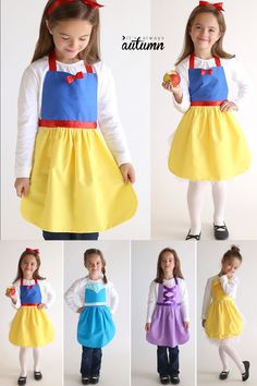 - These princess dress up aprons are so cute! Click through for free patterns for four different princesses: Snow White, Elsa, Rapunzel, and Belle. Easy Princess Dress Ups Dress Up Aprons, Dress Up Outfits, Dress Up Costumes, Cute Aprons, Girl Outfits, Sewing Dress, Diy Dress, Sewing Coat, Sewing Aprons