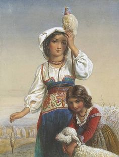 Italian peasant girls with a lamb signed, inscribed and dated 'Joseph Bouvier f. Roma. 1865'