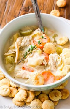 Enjoy creamy, comforting soup without the guilt. This lightened-up creamy chicken noodle soup has only 200 calories per serving!