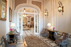 Lobby at Luxury Collection Hotel Maria Cristina, designed by HBA/Hirsch Bedner Associates.