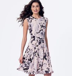 McCall's 7349- Misses'/Miss Petite Sleeveless or Raglan Sleeve, Fit and Flare Dresses