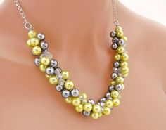 Chunky Yellow Pearl Necklace Yellow and Gray by CameronsJewelryBox