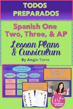 Why reinvent the wheel? Everything you need to teach #Spanish #One , Two, Three and AP is in this NO-PREP Bundle. This curriculum is kid-tested, refined during 30 years of teaching and  includes #Comprehensible #Input, #TPRS , videos, games, engaging PowerPoints, interactive notebook activities, #GoogleDriveActivities, songs, audios for absent students, and much more. Discover for yourself! #APSpanish  #Lessons Spanish Lesson Plans, Spanish Lessons, Teaching Spanish, Spanish Teacher, Spanish Classroom, Absent Students, Ap Spanish, Grammar And Vocabulary, Teacher Organization