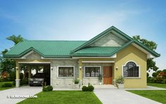 This three bedroom colonial house with 2 bathrooms has a total floor area of 134 sq. which require a minimum lot area of 289 sq. if it is to be constructed as single detached house. Single Storey House Plans, One Storey House, Modern Bungalow House Design, Simple House Design, Bungalow Designs, Three Bedroom House, Storey Homes, House Blueprints, Home Fashion