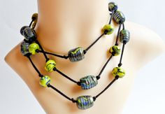 Yellow and Blue Polymer Clay Necklace Beaded Necklace, Necklaces, Polymer Clay Necklace, Yellow, Blue, Handmade, Jewelry, Beaded Collar, Hand Made