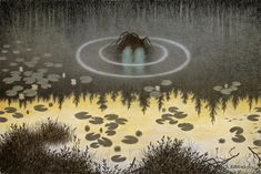 The Water Spirit Theodor Kittelsen is, we're told, one of Norway's most popular artists and illustrators. John Bauer, Theodore Kittelsen, Troll, Most Popular Artists, Nature Paintings, Tumblr, Werewolf, Folklore, Les Oeuvres