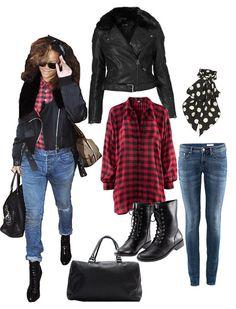 Rihanna: rotschwarz kariertes Hemd- H&M, Jeans- H&M, Lederjacke mit Fellkragen- Topshop, Schaal- Topshop, Knöchelhohe Stiefel- H&M, große Ledertasche- Mango
