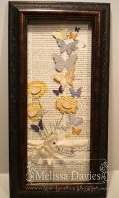 RubberFUNatics: July Framed Art - A Field of Butterflies Butterfly Decorations, Butterfly Cards, Paper Butterflies, Box Frame Art, Shadow Box Frames, Scrapbook Canvas, Scrapbook Kit, Scrapbooking, Card Patterns