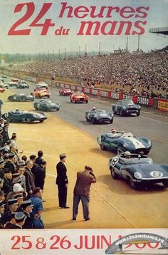 1958 Le Mans poster, photo of mass start.
