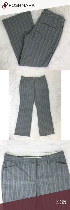 "Express Gray and Blue Editor Dress Pants {LA} Subtle striped dress pants with differing shades of blue and gray.  Express staple Editor dress pant fits straight through the hip and thigh.  Measurements laying flat Waist: 15"" Hip: 18"" Inseam: 29"" Rise:9""  Condition—Excellent Express Pants"