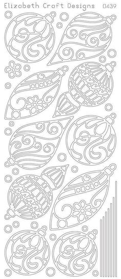 Stencils overlaid on colored paper Christmas Ornaments Peel-Off Stickers-Gold By Elizabeth Craft Designs Noel Christmas, Christmas Colors, All Things Christmas, Christmas Decorations, Christmas Ornaments, Silver Christmas, Gold Ornaments, Christmas Patterns, Christmas Stickers