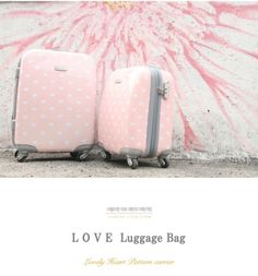 Pink luggage.