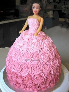 Ombre rose doll cake