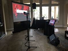 Private Residence - Karaoke Party projection screen with reference monitor and audio monitor. Karaoke System, Karaoke Party, Projection Screen, Stage Lighting, Birthday Bash, Monitor, Audio
