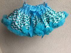Baby Toddler Girls Turquoise Chevron Pettiskirt Tutu Skirt Fluffy by adorablebyme on Etsy