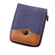 Men Women Unisex canvas & leather mixed wallet full zipper closure style, bi fold wallet with generous space. Cheap price good quality canvas wallet in blue and brown colors fast shipping in Sydney, Australia and world wide. Coin Card, Card Wallet, Denim Purse, Canvas Wallet, Pocket Cards, Leather Material, Canvas Leather, Luggage Bags, Coin Purse